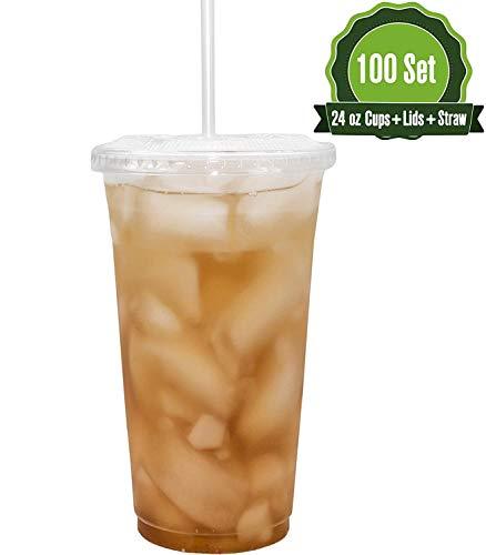 Plastikbecher mit Deckel und Strohhalmen, 624 oz - 100 Sets ] Transparente Einwegbecher, ideal für Eiskaffee, Saft, Bubble Boba, Smoothie, Soda, Cocktail-Party und Tee usw.