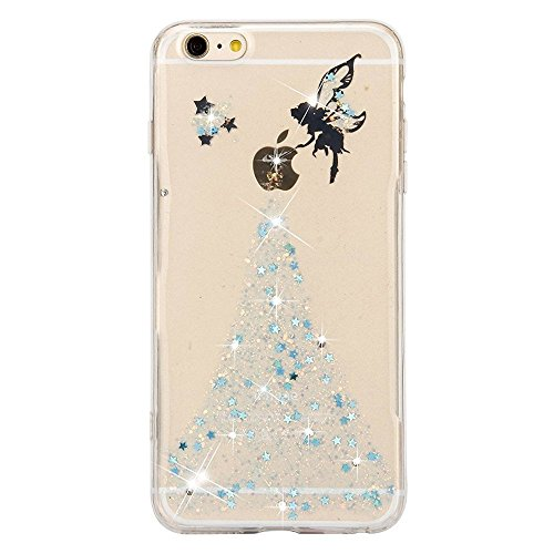 iPhone 7 Plus Hülle,iPhone 7 Plus Case Cover,Sunroyal iPhone 7 Plus Transparent Sparklers Hülle TPU Case Schutzhülle Silikon Crystal Case Durchsichtig,Silber Glänzend Glitzer Kristall Luxus Bling Star Pattern 16