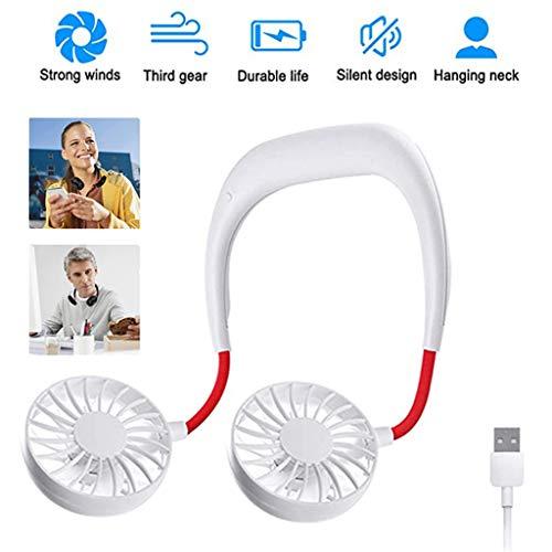 USB Tragbare Ventilator Leise 3 Speed Betrieb für Outdoor,Mini Hängende Neck Fan Outdoor Sports Faule Kleine Fan Wearable Fan Mit Dual Fan USB Wiederaufladbare (weiß Rot) (Wiederaufladbare Fan)