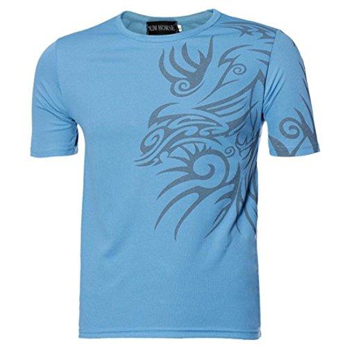 Blaue Mikrofaser-pullover (Sannysis Mode Herren Neu Kurze Ärmel T-Shirt Sport-T-Shirt (Blau, XL))