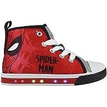 Spiderman Marvel Zapatillas de Lona con Luz Led Color Rojo - Bambas Spiderman con Luz Casual