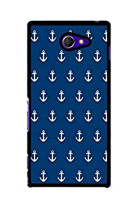 Caseque Anchor Blue Back Shell Case Cover For Sony Xperia M2