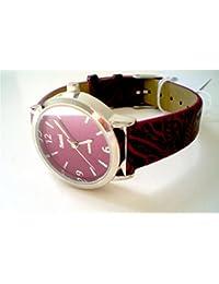 Sami RSM-81210-5 Reloj de Pulsera de Mujer Corona Cristal Correa Piel Rojo