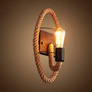 ASL Hemp Rope Wall Lamp, Creative Bar Living Room Wall Lamp Bedside Lamp Decoration Bedroom Stairs Aisle Iron Hemp Rope Wall Lamp Single Head E27 Spiral Mouth New (Size : A)
