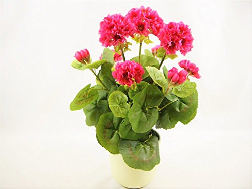 38 cm en soie Rose géranium Fleur artificielle en pot de crème ~ Maison Plante