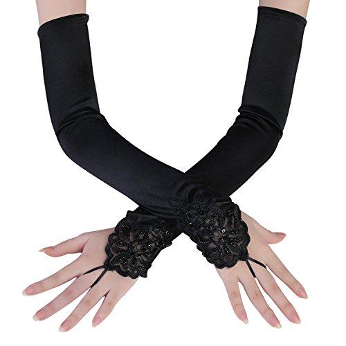chuhe Satin Classic Opera Fest Party Audrey Hepburn Handschuhe 1920er Stil Handschuhe Elastisch Erwachsene Größe Ellenbogen bis Handgelenk Länge 52/55cm (Spitze 45cm / Schwarz) (Schwarze Spitzen Handschuhe)