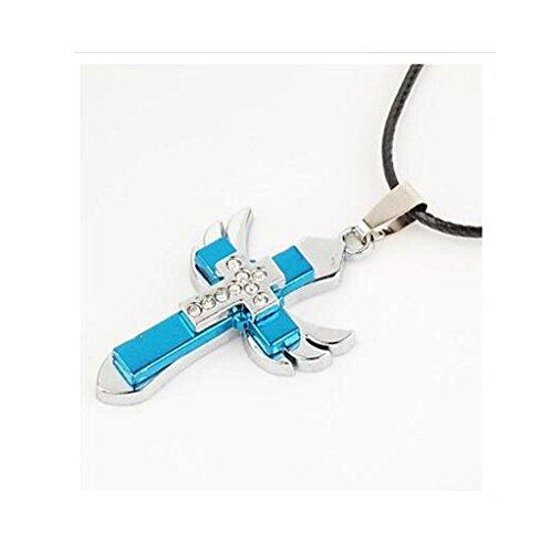 GYJUN Collana cross in lega di zinco strass crocifisso maschile (1 pezzo) , blue - 18k Crocifisso