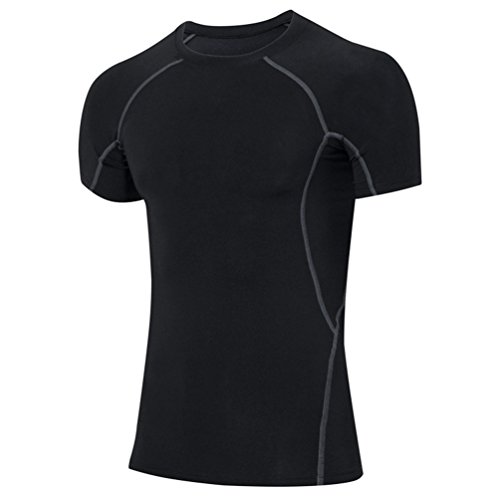 YiJee Herren Sports Pro Cool Compression Shortsleeve Tee mit Quick-Dry-Funktion Schwarz M (Trocknen Short Tee Sleeve Sport)