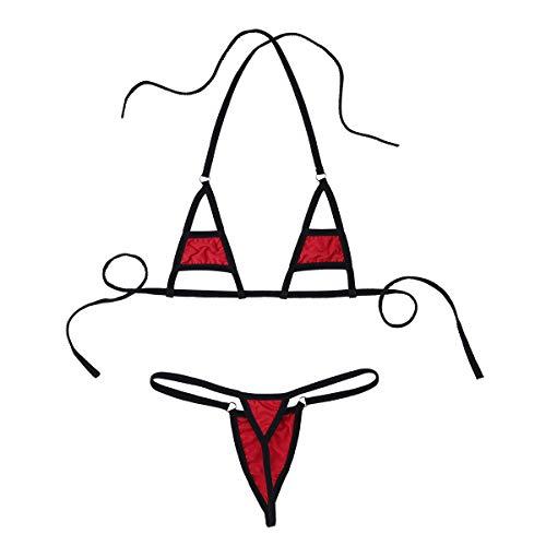 TiaoBug Damen sexy Bikini Dessous Set Micro Mini Neckholder BH Oberteil und String Tanga Babydoll Zweiteiler Bade Standmode Rot One Size