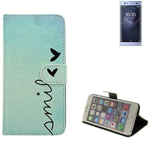 K-S-Trade® für Sony Xperia XA2 Ultra Dual-SIM Wallet Case Schutz Hülle Flip Cover Tasche ''Smile'', türkis