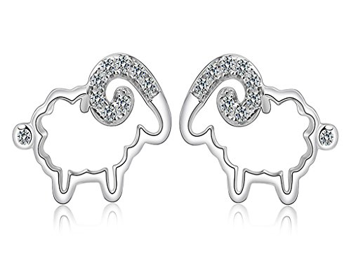 Unendlich U 925 Sterling Silber Kubische Zirkonia Süßes Schaf-Ohrstecker Ohrringe für Damen/Mädchen