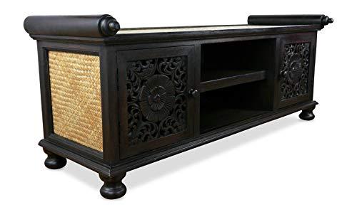 livasia Asiatisches Sideboard aus Holz und Rattan, TV - Bank, HiFi Schrank, Anrichte (Nr.5)