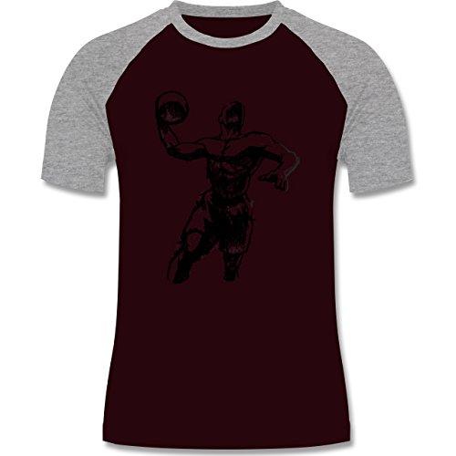 Basketball - Basketball Sprungwurf - zweifarbiges Baseballshirt für Männer Burgundrot/Grau meliert