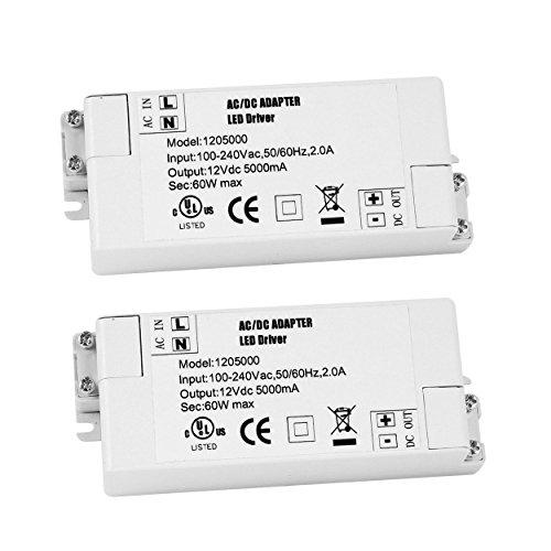 YAYZA! 2-Paquete Transformador de Conductor LED de Bajo Voltaje IP44 12V 5A 60W Fuente de Alimentación Conmutada de CA/CC