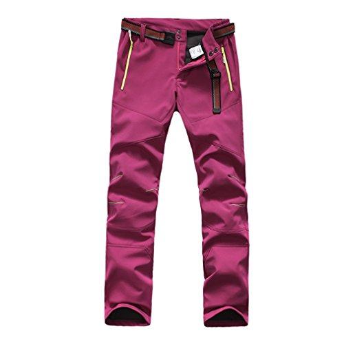 FLYGAGA Femme Softshell Doublé Polaire Pantalon Coupe-Vent Imperméable Outdoor Sport Camping Randonnée Escalade Pantalon (XX-Large, Violet)