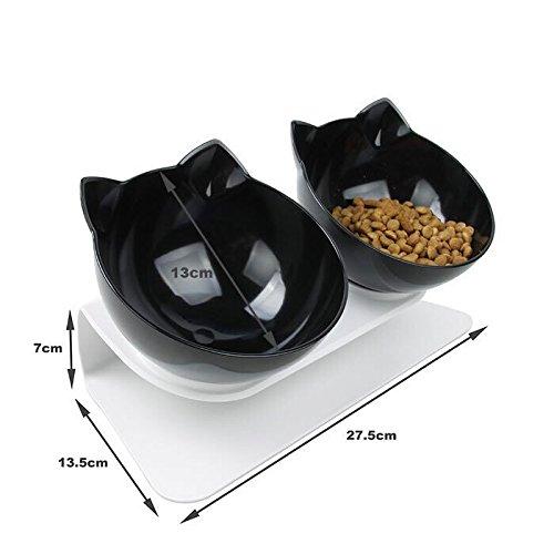 Damncat Futternapf für Katzen, 2 Futternäpfe, mit rutschfestem Futternapf, Schwarz -
