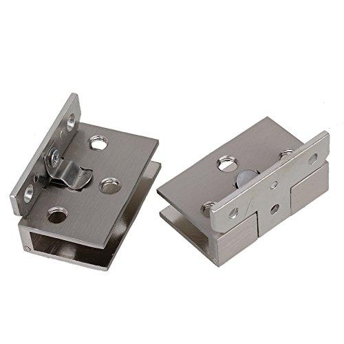 41fZCtdnURL - BQLZR plata tono acero inoxidable Gabinete de cristal puerta bisagra de metal cromado que se ajusta a de pared para 10 mm Espesor puerta 2 unidades