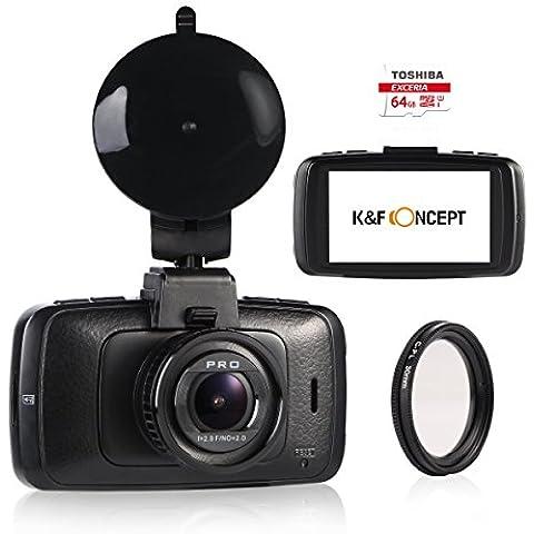k&F Concept, Dashcam DVR Cámara para Coche 2.7