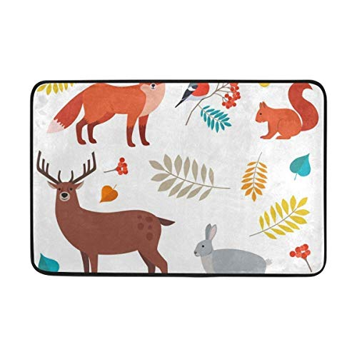 LINGVYTE Non Slip Doormats Rugs Forest Animals and Leaves Door Mats Soft Memory Foam Printing for Living Room Kids Bedroom 23.6x15.7 inch (Hose Service Forest)