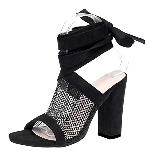 uirend Schuhe Damen Sandalen - High Heels Sommer Absatzschuhe Sexy Mesh Blockabsatz Riemchen Peep Toe Sandaletten Partyschuhe Offene Sexy High Heel Prom Schuhe