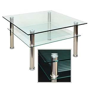 Amazon.de: Glastisch 80 x 80 cm zarter Beistelltisch Ecktisch Couchtisch aus Edelstahl mit 10 mm ESG