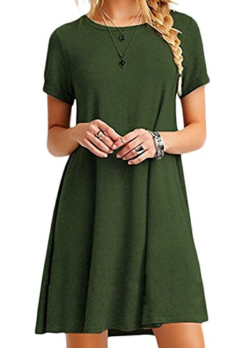 OMZIN Damen Kurzarm O Neck Slit Casual Swing T-Shirt Kleid Armee Grün XL