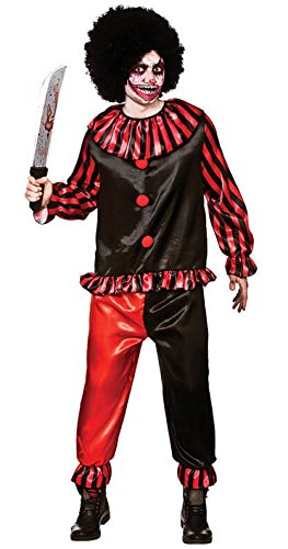 Horror Clown Men's Costume Scary Halloween Fancy Dress Plus Size