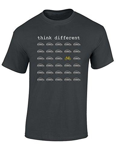 T-Shirt: Think Different - Fahrrad Geschenke für Damen & Herren - Radfahrer - Mountain-Bike - MTB - BMX - Fixie - Rennrad - Tour - Outdoor - Sport - Urban - Motiv - Spruch - Fun - Lustig (L)