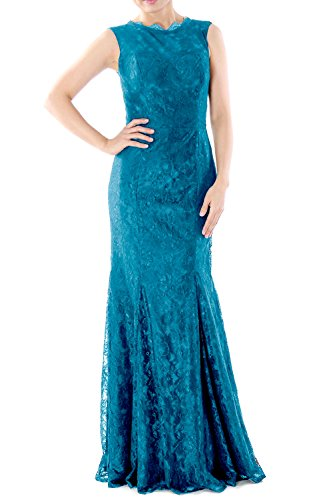 MACloth Women Mermaid Lace Long Bridesmaid Dress Wedding Formal Evening Gown Turquoise
