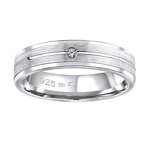 SILVEGO Damen Ehering aus 925 Sterling Silber AVERY mit Zirkonia