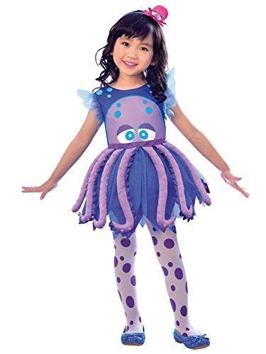 Fancy Me Mädchen Kinder süß Violett Blau Octopus 3-TLG. Meerestiere Tier Wasser Theme Karneval Kostüm Kleid Outfit 2-8 Jahre - 3-4 Years