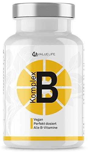 Vitamin B Komplex - Perfekt dosiert mit allen 8 B-Vitaminen & Brain-Booster Ginkgo Biloba - Bioaktive Vitamine für beste Bioverfügbarkeit - 150 Portionen von Valuelife