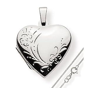 Haus der Herzen Medaillon Amulett 925 Silber Herz zum öffnen für Bildereinlage/ 2 Fotos