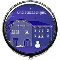 LinJxLee Christmas Night Round Pill Case Pill Box Tablet Vitamin Organizer Easy to Carry preisvergleich bei billige-tabletten.eu