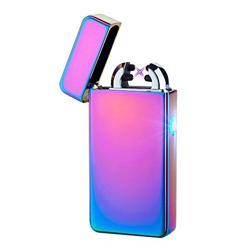 Alxcio USB Wiederaufladbare Elektronisch Dual Arc Feuerzeug Windproof Flammenlose Kein Gas Zigarettenanz&uumlnder Z&uumlndung mit USB-Ladekabel, Stil 1