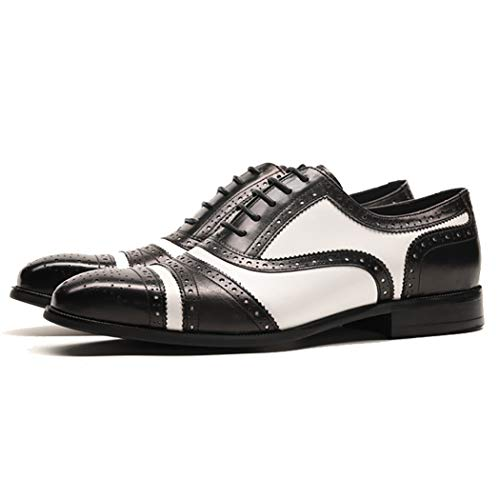 RSHENG Herren Leder Oxford Schuhe Halb Brogue Drei Joint Square Head Business Casual Dress Schuhe Hit Farbe Krawatte Größe Herrenschuhe -