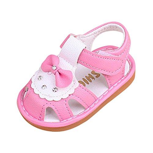 Womens Geschlossene Zehe Kurz (FNKDOR Neugeborene Baby Quietschen Schuhe Quietscher Babyschuhe Bowknot Sandalen(18 Monate / 12.5 cm,Rosa))