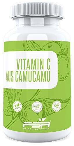Natürliches Vitamin C 90 Kapseln, 125 mg pro Kapsel, aus der Camu Camu Frucht, Vegan - Made in Germany - FSA Nutrition -