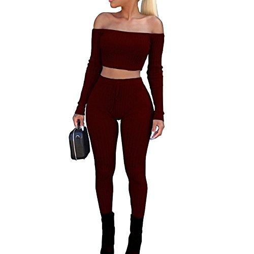 Cramberdy ❀Damen Sportanzug,Damen Mode Schulterfrei Zwei-Teilig Trainingsanzug Sweatjacke Freizeitanzug Sweatshirt Sports Obenteile Mode Hose Langarm Einfarbig Casual Hausanzug Damen -
