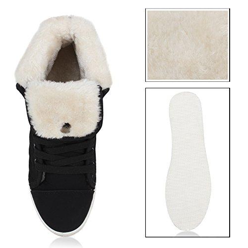 Stiefelparadies Damen Sneaker High Warm Gefütterte Schuhe Winter Sneakers Schnallen Umklappbarer Schaft Kunstfell Turnschuhe Flats Flandell Schwarz Gesteppt