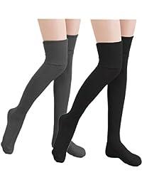 KIIMOO Lange Overknee Strümpfe Damen Knie Struempfe Thigh High College Knie Socken