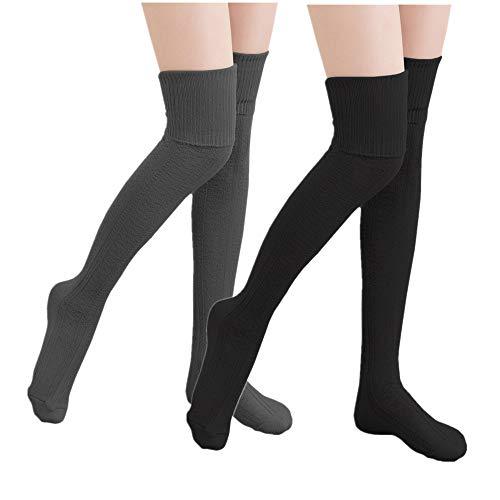 KIIMOO Lange Overknee Strümpfe Damen Knie Struempfe Thigh High College Knie Socken (Dunkelgrau & Schwarz)