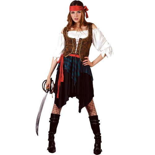 Pirate Lady Fancy Dress Ladies Pirates Wench Costume 5 Sizes (Women: 22-24) by Wicked Wicked