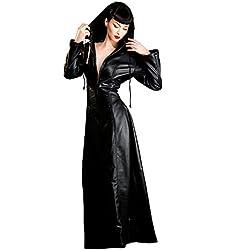 Vestido gótico con capucha de cuero negro, todas las tallas | Fetiche