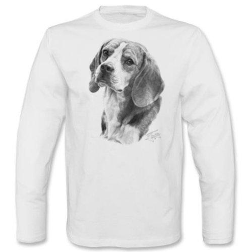 Marken Langarmshirt - Motiv Beagle - cooles Langarm Shirt Geschenk Herren Weihnachten Geburtstag Weiß