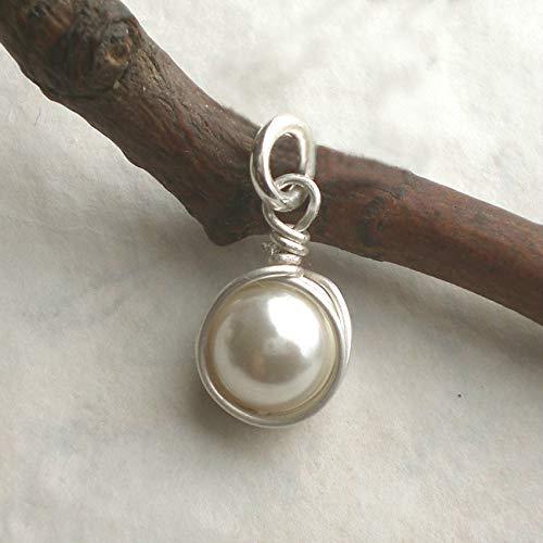 Feiner Muschelkern Anhänger weiß 925 Silber, Kettenanhänger Perle rund Sterlingsilber