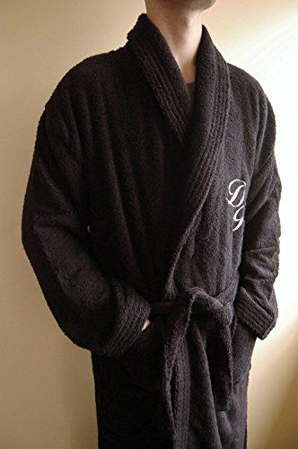 Personalisierte Monogramm Schalkragen Baumwolle Terry Frottee schwarz Bademantel, 100% Baumwolle, schwarz, Large (100 Monogramm-bademantel Baumwolle)