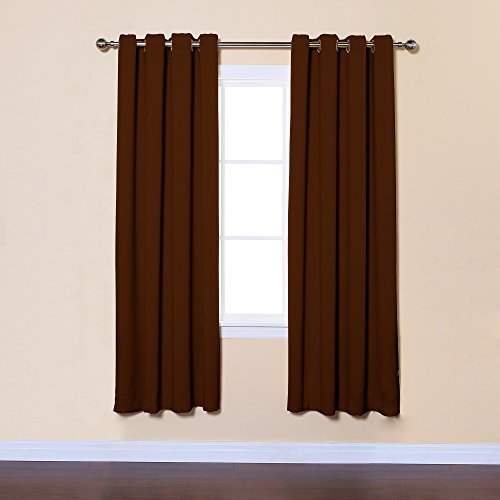 Best Home Fashion Thermal Insulated Blackout Curtains - Antique Bronze Grommet Top - Chocolate - 52W x 72L - (Set of 2 Panels) by Best Home Fashion