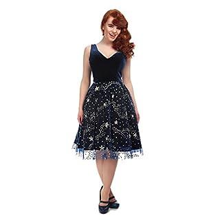 Collectif Vintage Women's Blue Ara Stardust Swing Dress UK 22