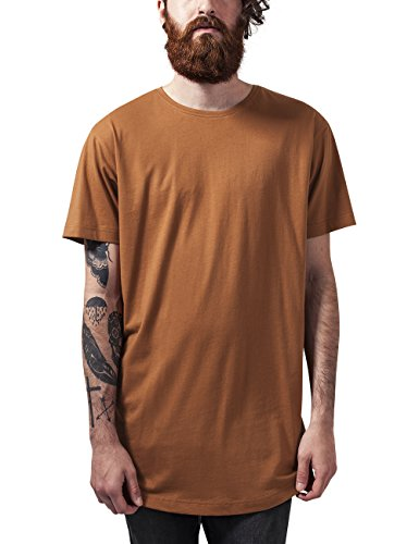 Urban Classics Herren T-Shirt Shaped Long Tee, Braun (Toffee 786), Large (Shirt Baumwolle Braun)